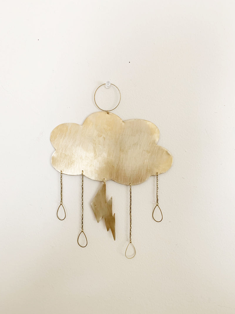 Cloud and Lighting Bolt Brass Wall Hanging