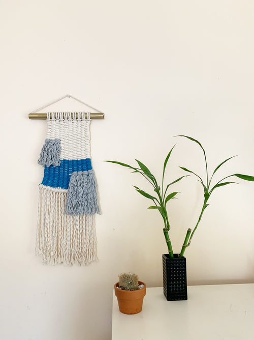 Metrix Jewelry - Macraweaving Wall Hanging (Shades of Neutral and Blue)
