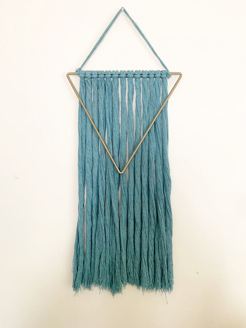 Large Triangle Fiber Wall Hanging in Sea foam Green