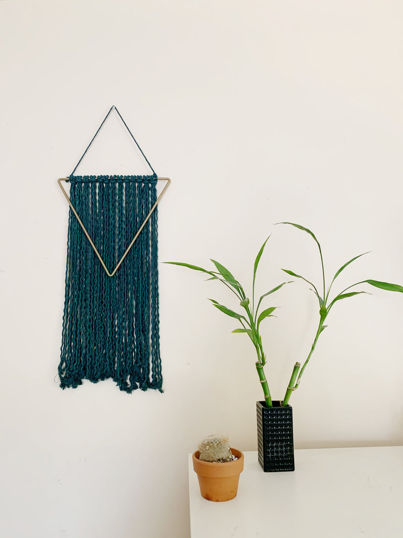 Large triangle Fiber Wall Hanging - Forest Green Holiday