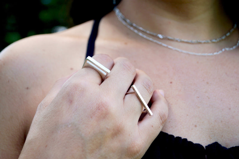 Linear Bar Ring in Sterling Silver