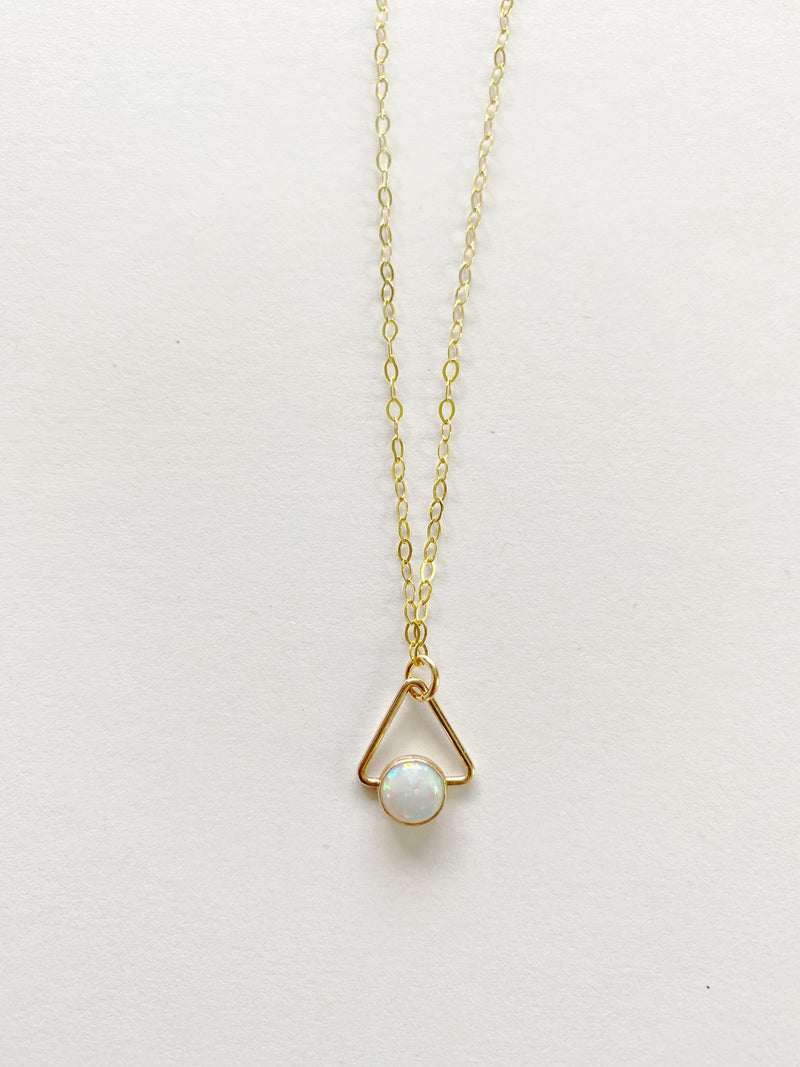 Opal Triangle Necklace in 14 Karat Gold Fill