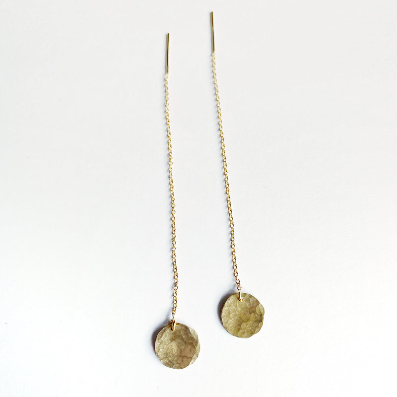 Hammered Disc Threader Earrings - Choose Your Metal