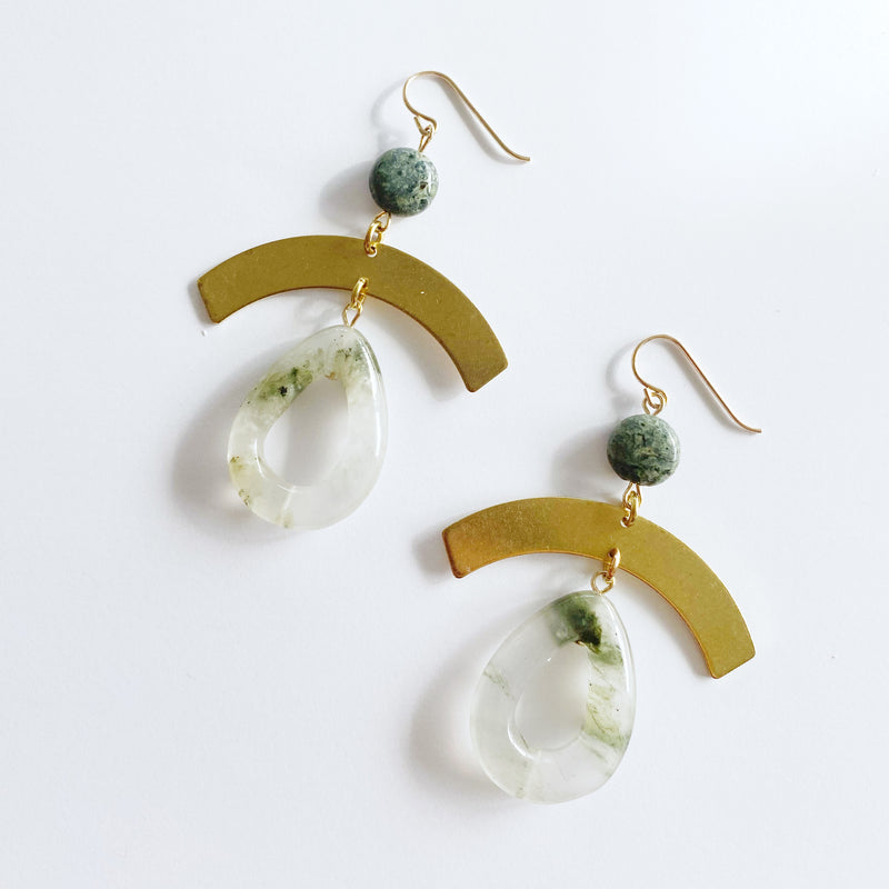 Geometric Shades of Green Earrings