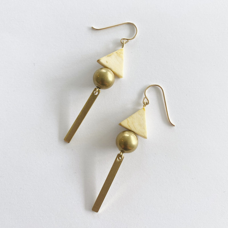 Yellow Triangle and Brass Bar Earrings