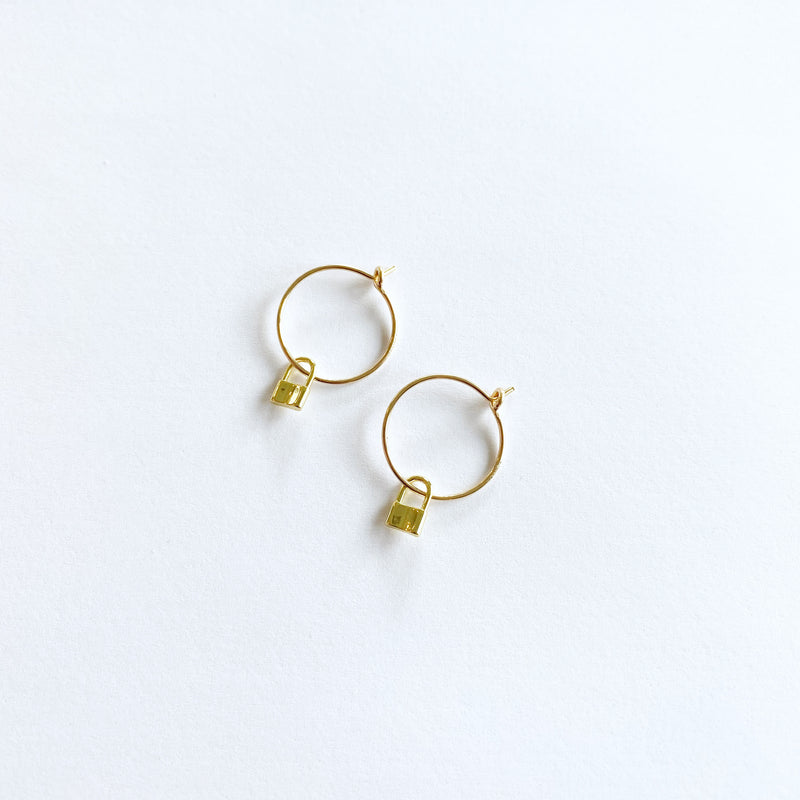Mini Padlock Hoop Earrings in 14 Karat Gold Fill