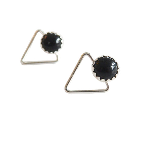 Triangle and Black Onyx Stud Earrings