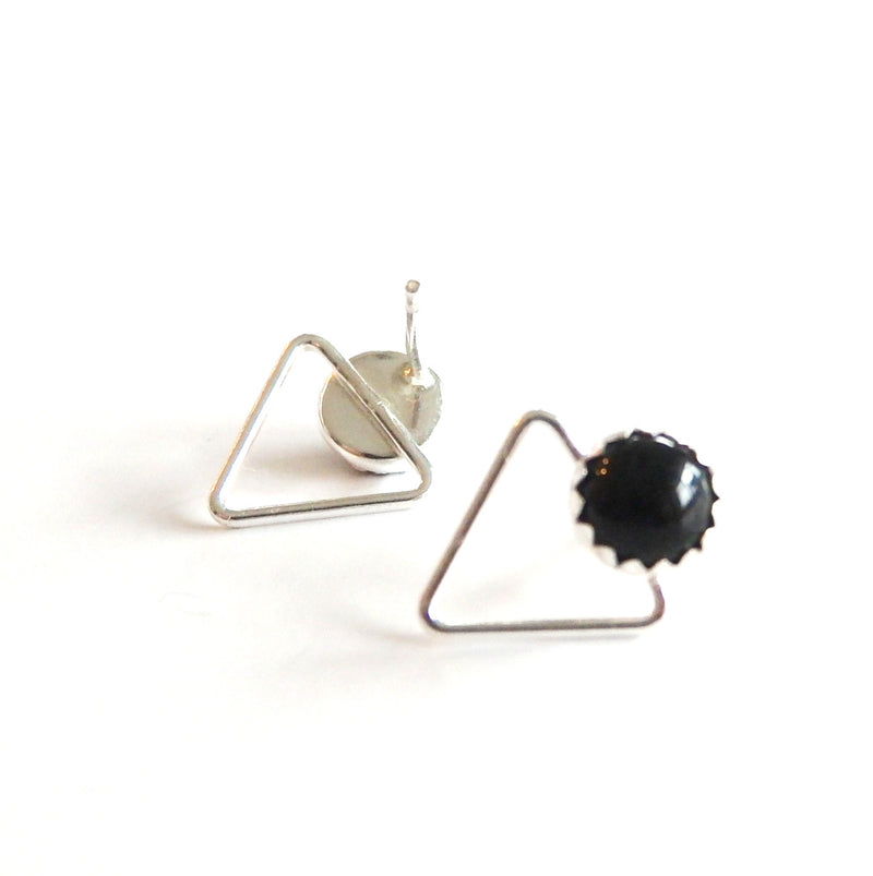 Sterling Silver Triangle and Gemstone Stud Earrings - Choose Your Gemstone