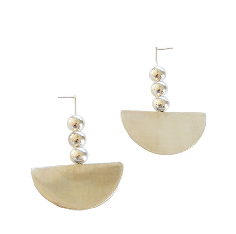 Triple Sphere and Slice Earrings