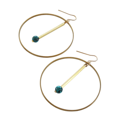Geometric Turquoise Drop Circle Earrings