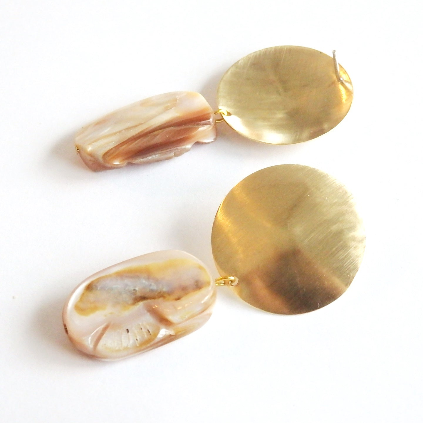 Mother of Pearl Shell and Brass Domed Stud Earrings