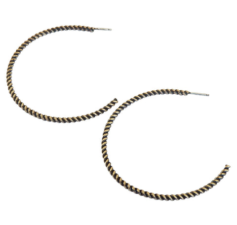 Brass Oxidized Twist Hoops