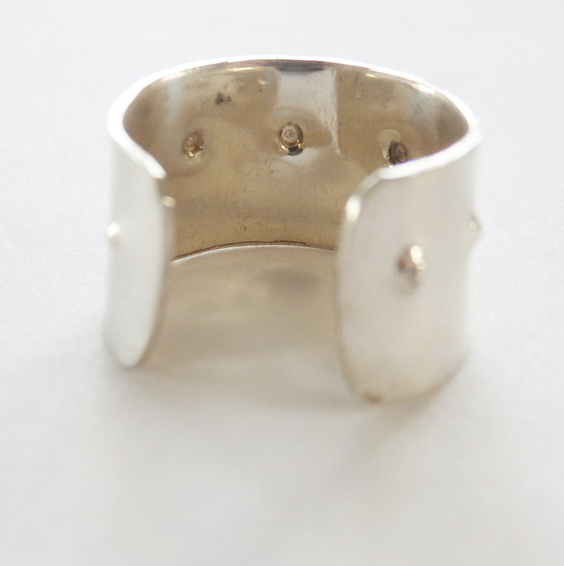 Thick Hammered Dot Ring in Sterling Silver