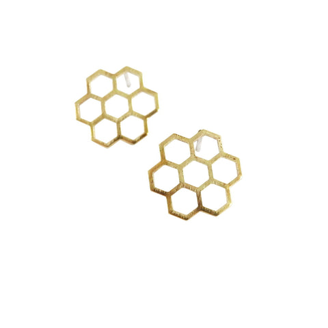 Small honeycomb cluster earrings