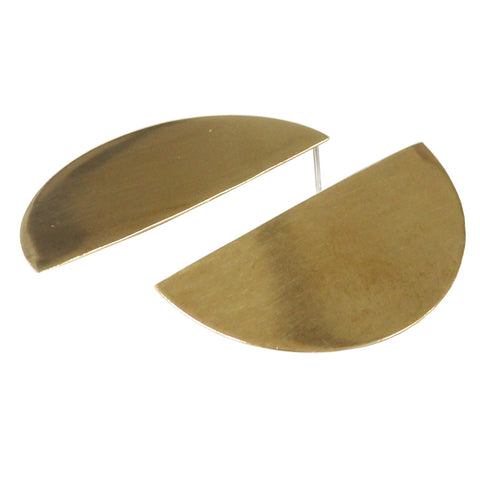 Semi Circle Post Earrings in Brass, Large