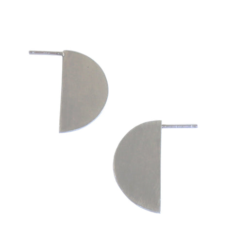 Slice Semi Circle Pop Earrings in Sterling Silver