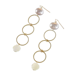 Triple Circle Shell Drop Earrings