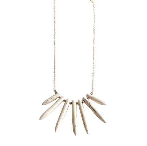 White Spike Fan Necklace