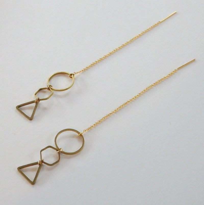 Geometric Dangle Threader Earrings