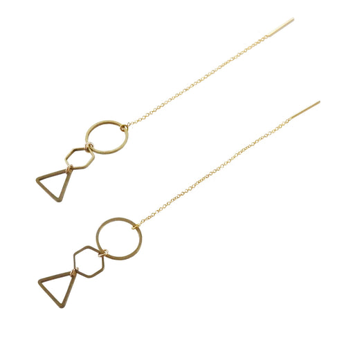 Metrix Jewelry - Geometric Dangle Threader Earrings