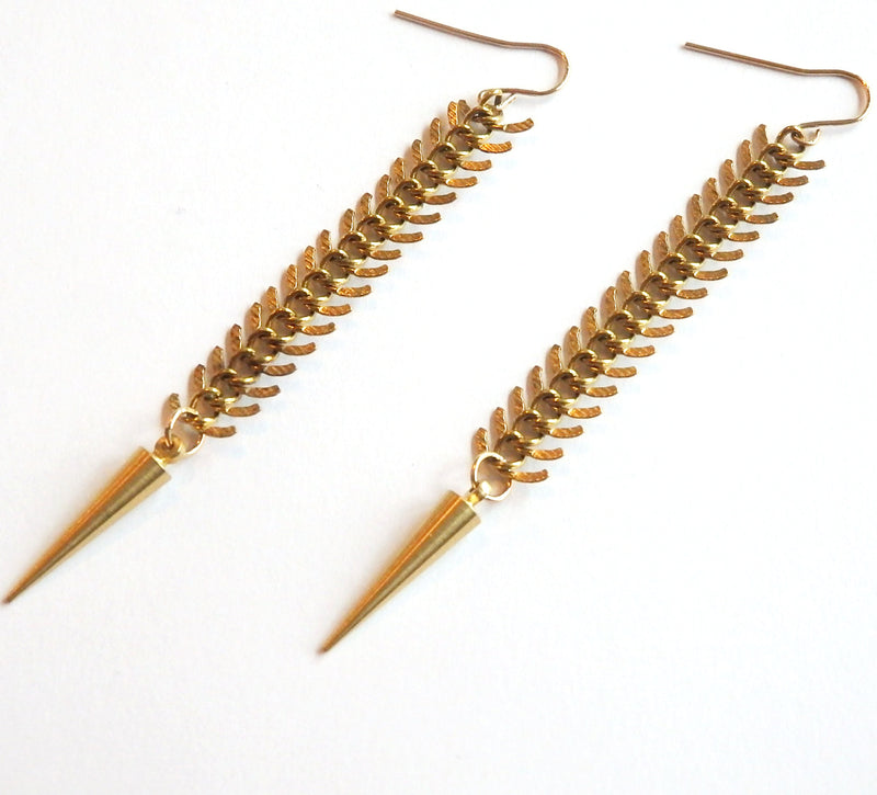 Golden Fishbone Spike Earrings