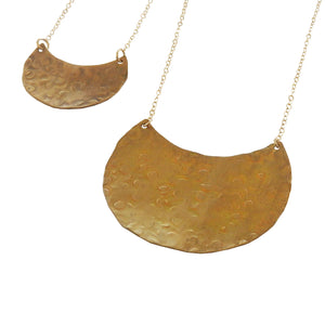 Hammered Crescent Textured Necklace