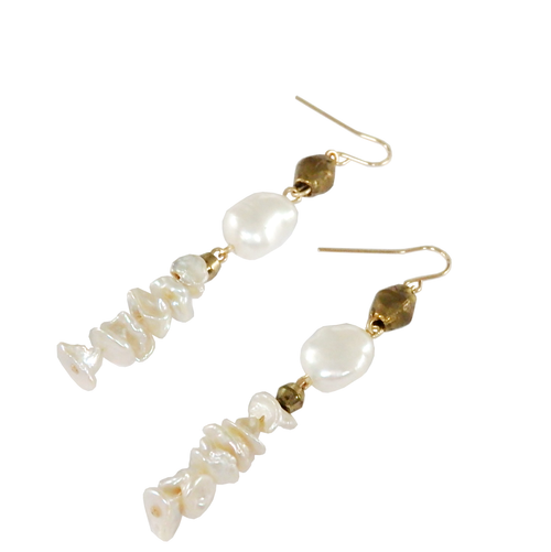 Metrix Jewelry - Brass Bead and Pearl Drop Earrings