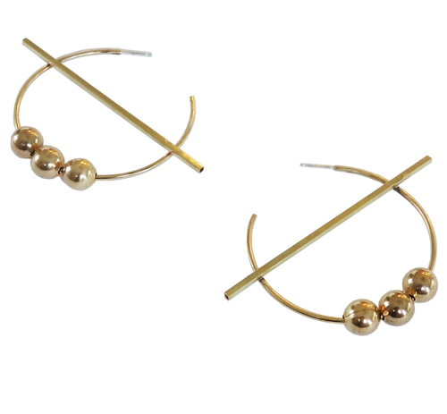 Metrix Jewelry - Linear Tube and Ball Hoop Earrings