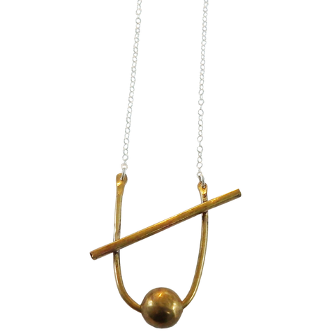 Ball on a Curve Necklace
