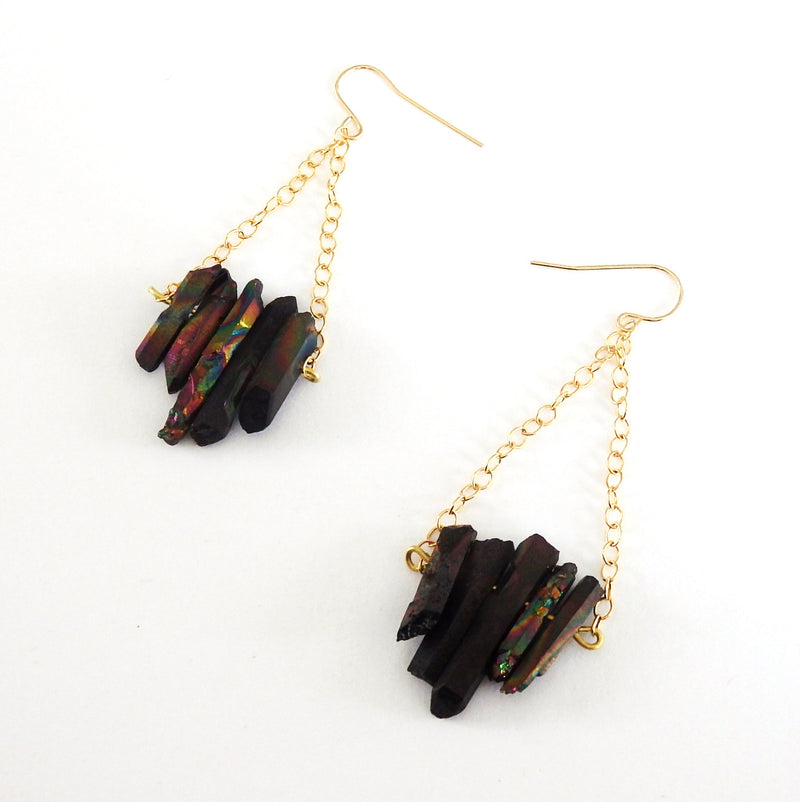 Black Quartz Gemstone Earrings with Gold Fill Chain Drop