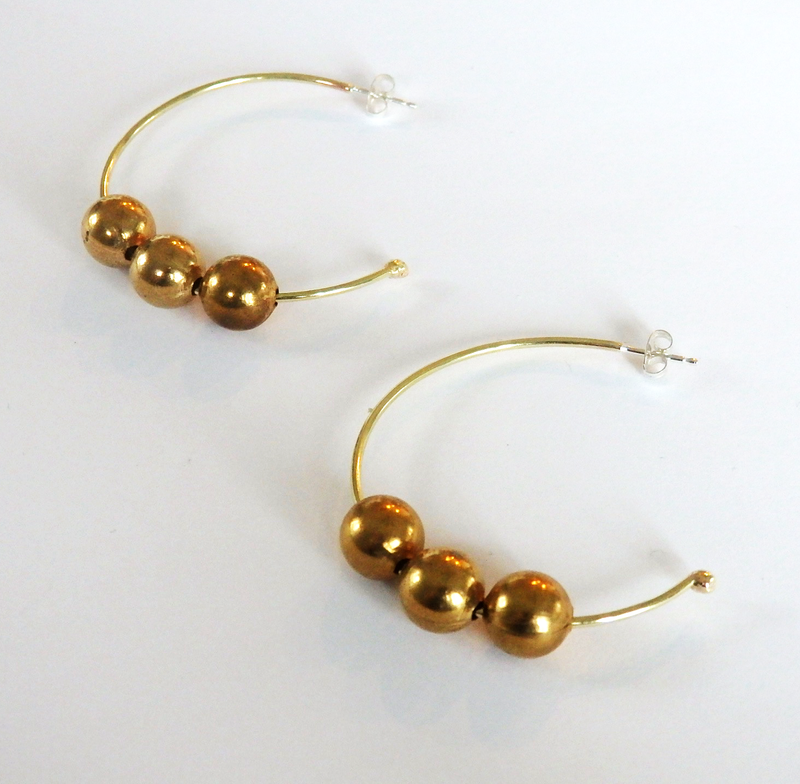Triple Ball Hoop Earrings