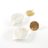Hammered Brass Disc and Freshwater Pearl Earrings