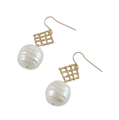 Metrix Jewelry - Woven Pearl Drop Earrings