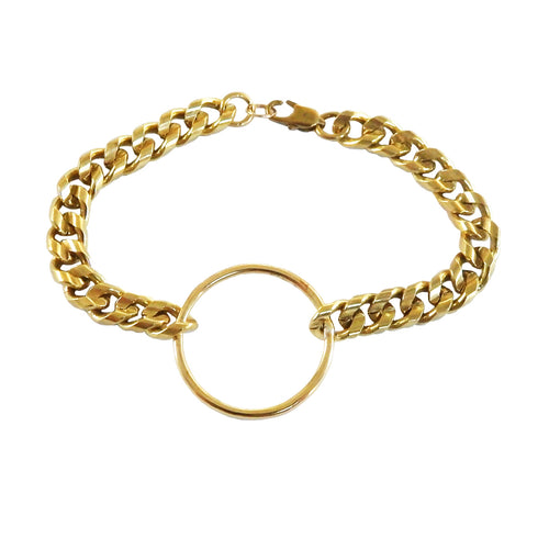 Brass thick chain bracelet with circle - metrix jewelry