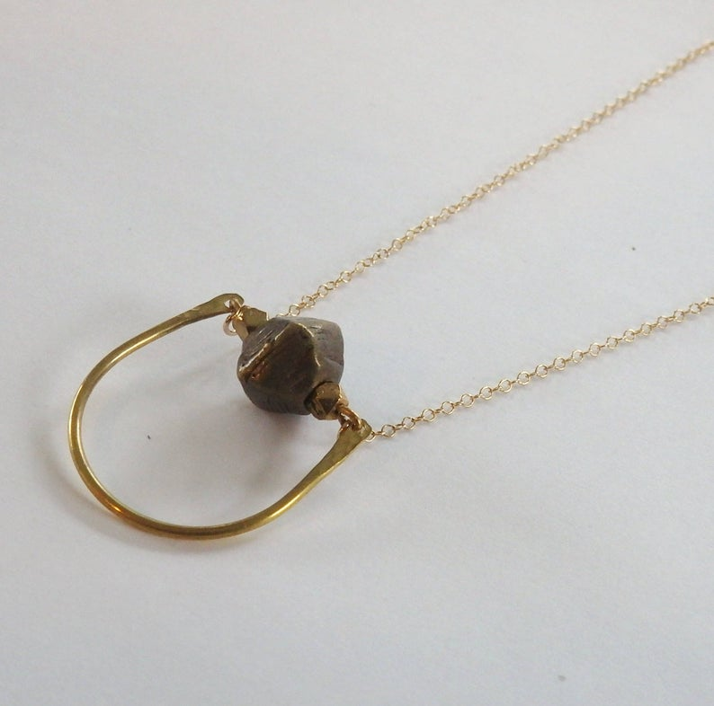 Hammered Crescent and Brass Bead Necklace