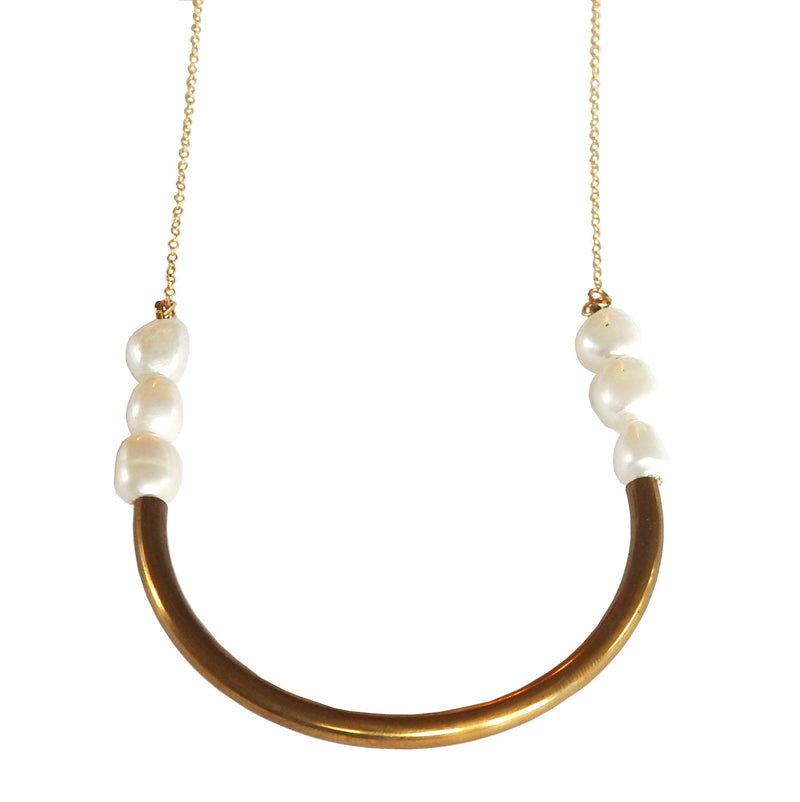 Brass Curve Necklace with Freshwater Pearls