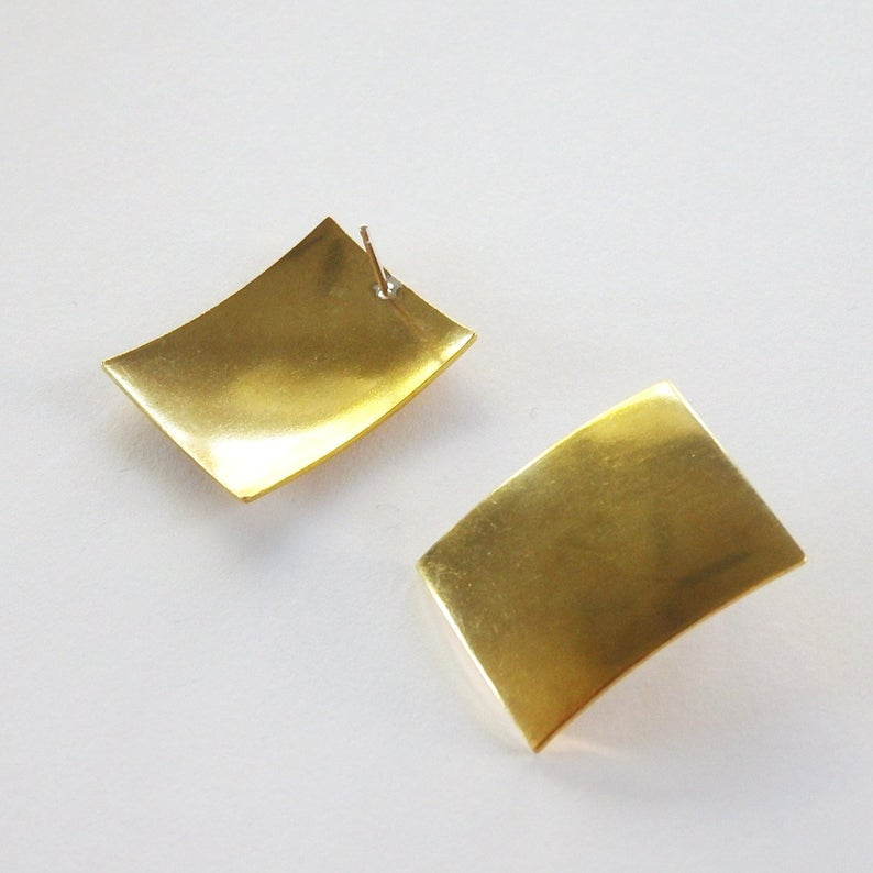 Brass Rectangle Stud Earrings