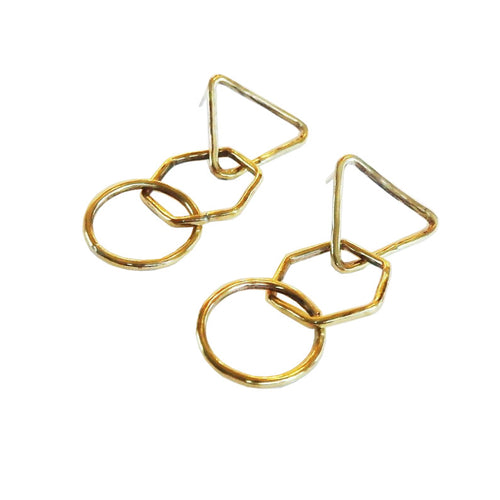 Metrix Jewelry - Geometric Shape Chain Dangle Earrings