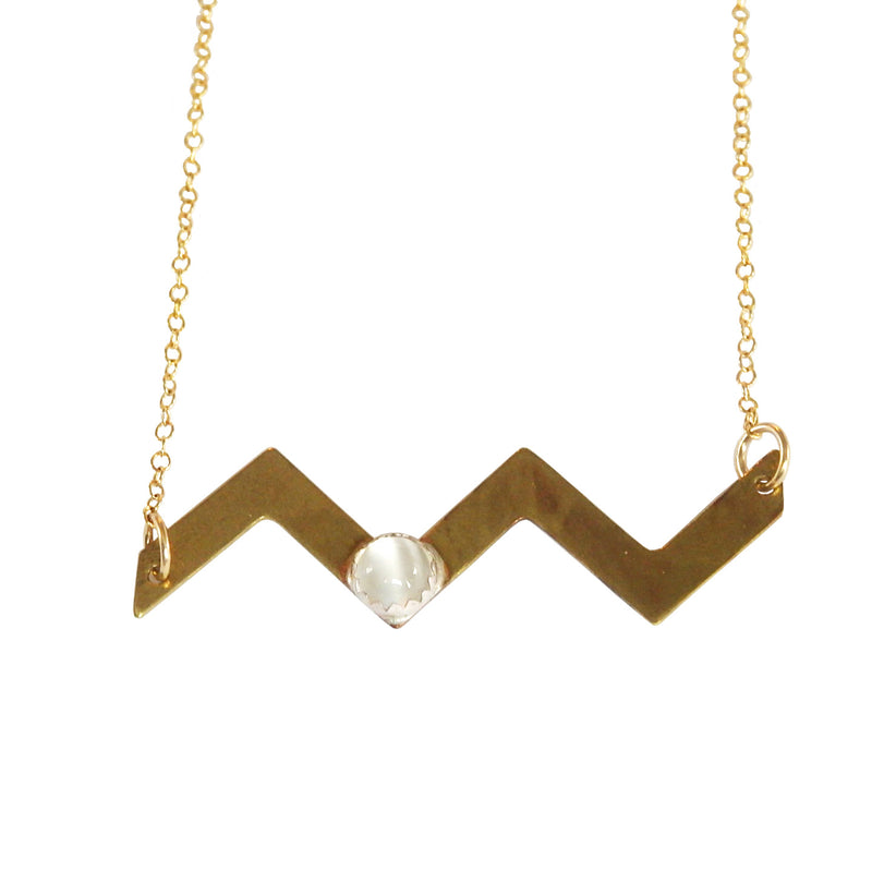 Brass Chevron Necklace with Moonstone