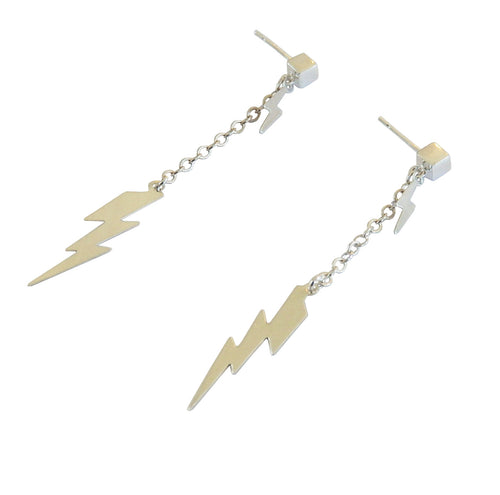 Metrix Jewelry -  Sterling Silver Double Lightning Bolt Stud Drop Earrings