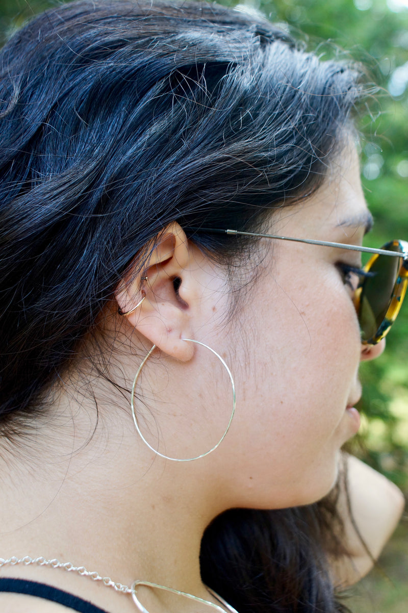 Thin Hammered Hoop Earrings