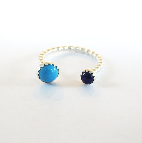 Metrix Jewelry - Lapis and Turquoise Double Gemstone Ring