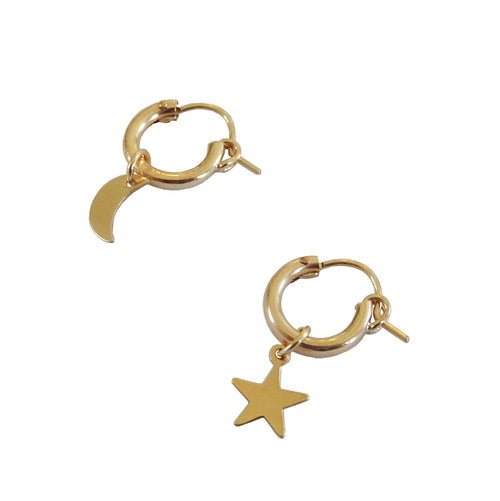 Metrix Jewelry - Moon and Star (mix and match / 14 Karat Gold Fill) Huggie Hoops