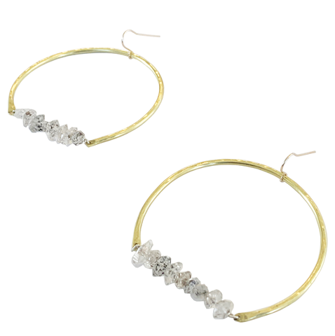 Herkimer Diamond Crescent Earrings