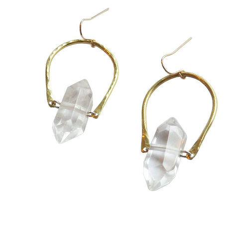 Metrix Jewelry - Quartz Point and Hammered Brass U Earrings