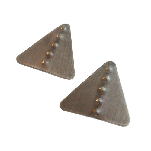 Metrix Jewelry - Hammered Dot Triangle Stud Earrings