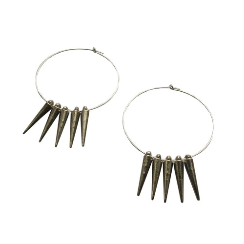 Metrix Jewelry - Sterling Silver Spike Hoop Earrings
