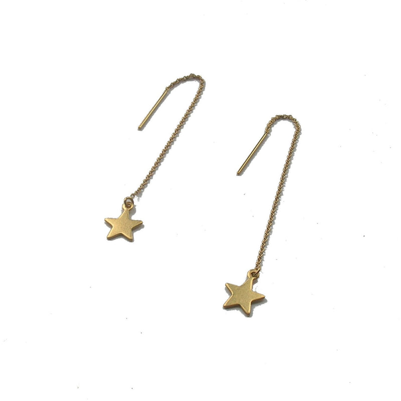 Earring Threaders - 14 Karat Gold Fill with Brass Charm - SIGNLE EARRING