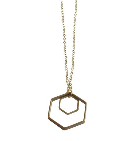 Double Hexagon Necklace