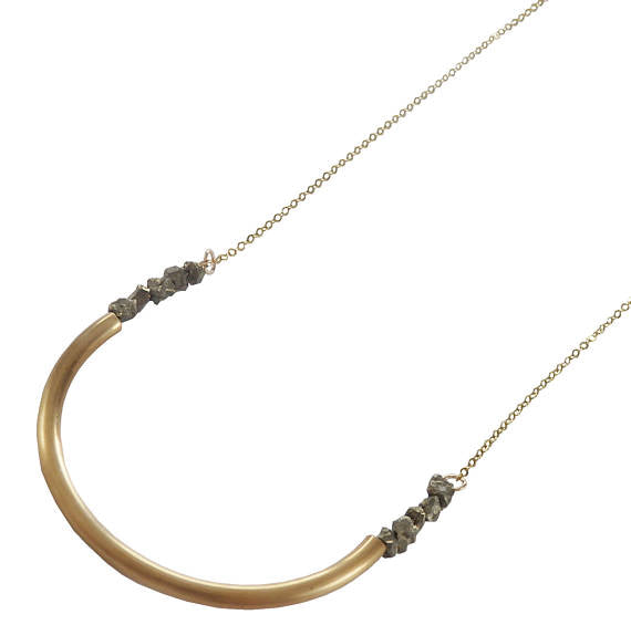Pyrite and Brass Semi Circle Necklace